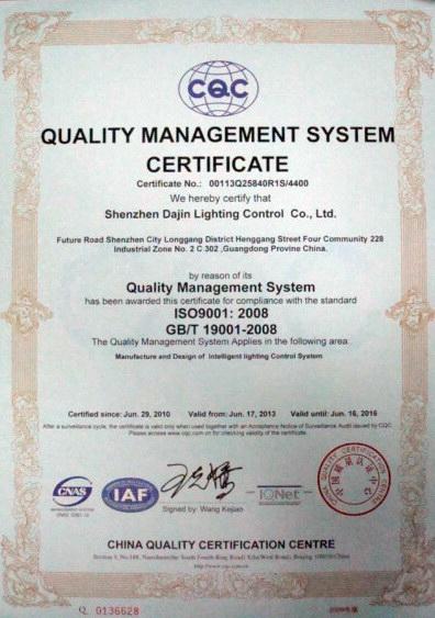 CQC中国质量认证证书