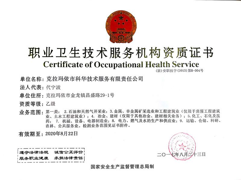 職業衛生技術服務機構資質(正本)